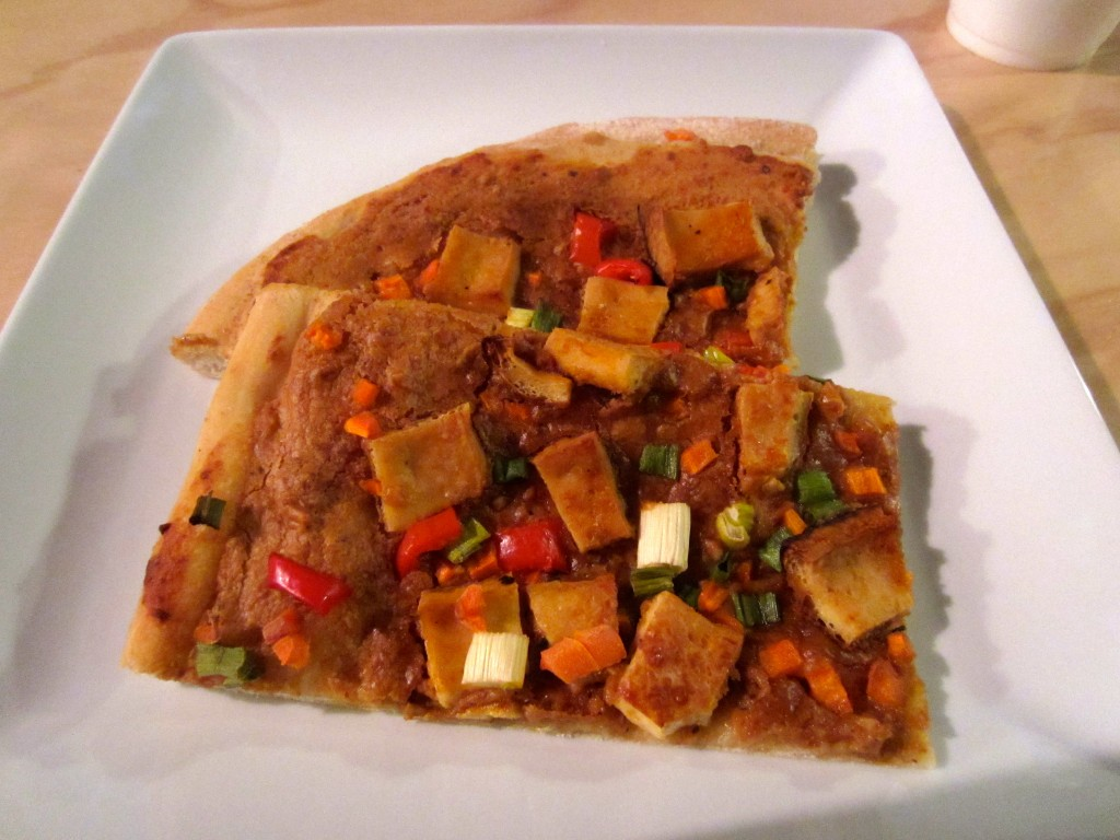 thai tofu pizza slices